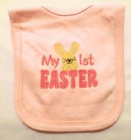 Embroidered My 1st Easter bunny baby bib